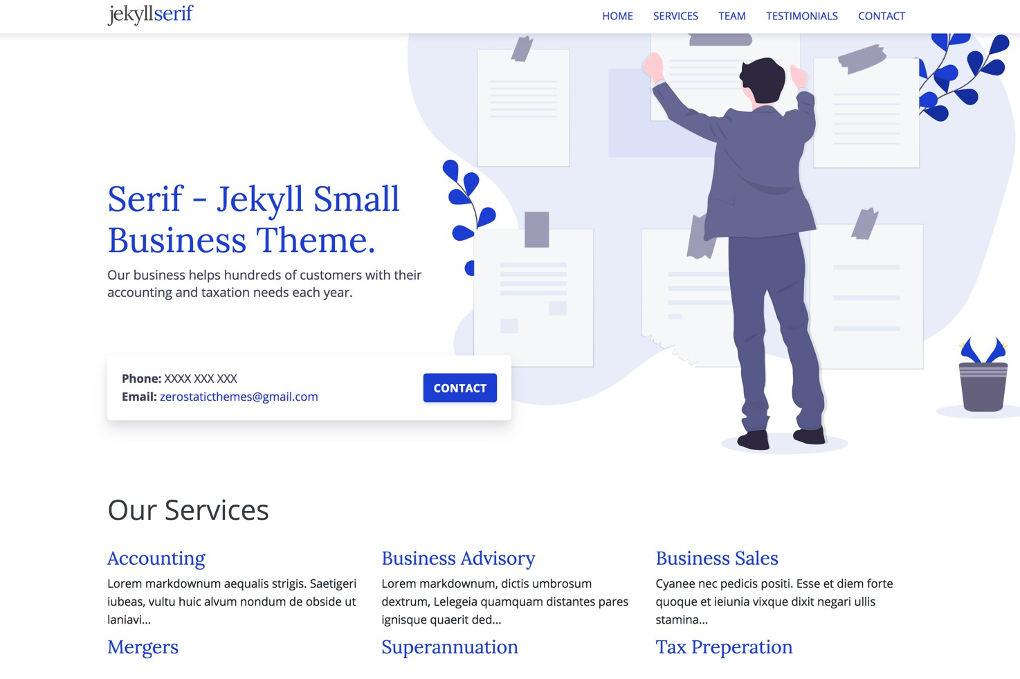 Serif is a beautiful small business theme for Jekyll