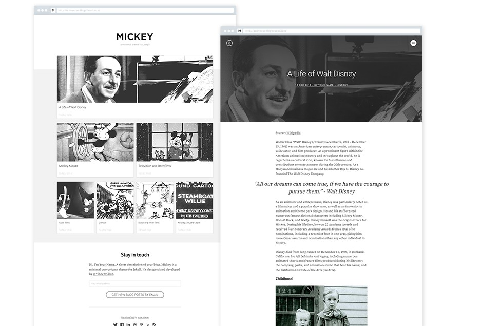 Mickey - a minimal one-column, responsive theme for Jekyll