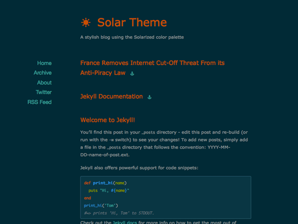A stylish theme for Jekyll blogs based on the Solarized color palette