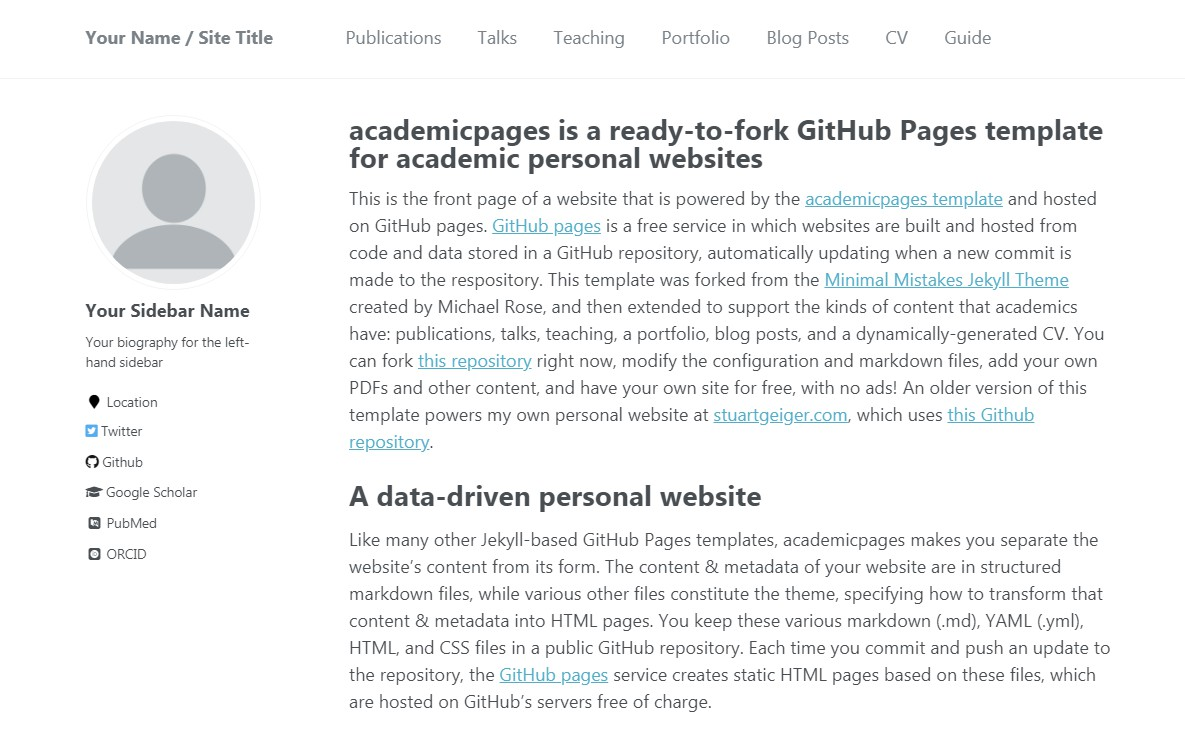Github Personal Website Template