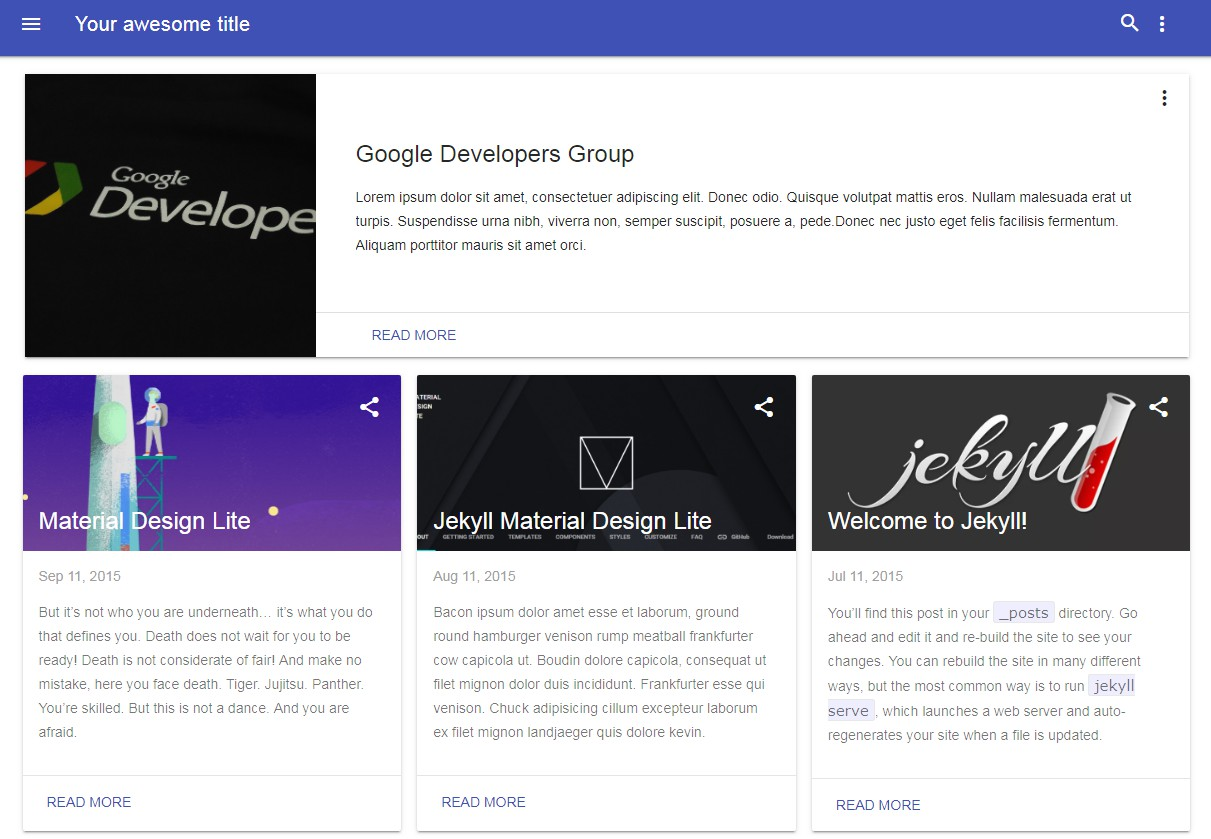 A Jekyll theme based in Google Material Design Lite library