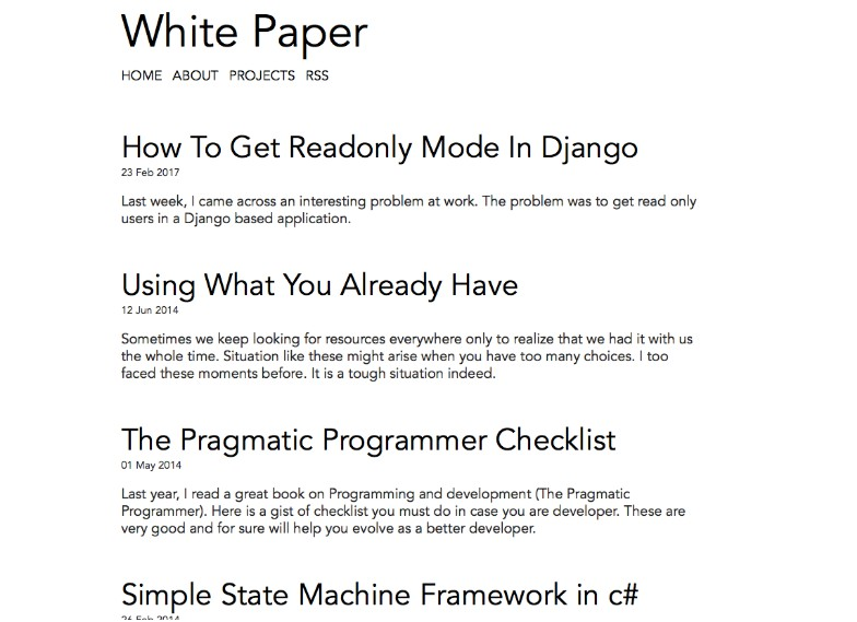 Personal website based on white paper jekyll theme