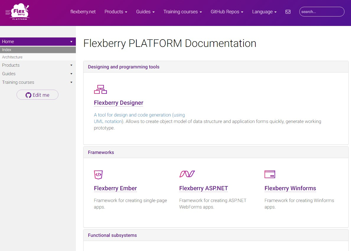 Documentation for Flexberry projects