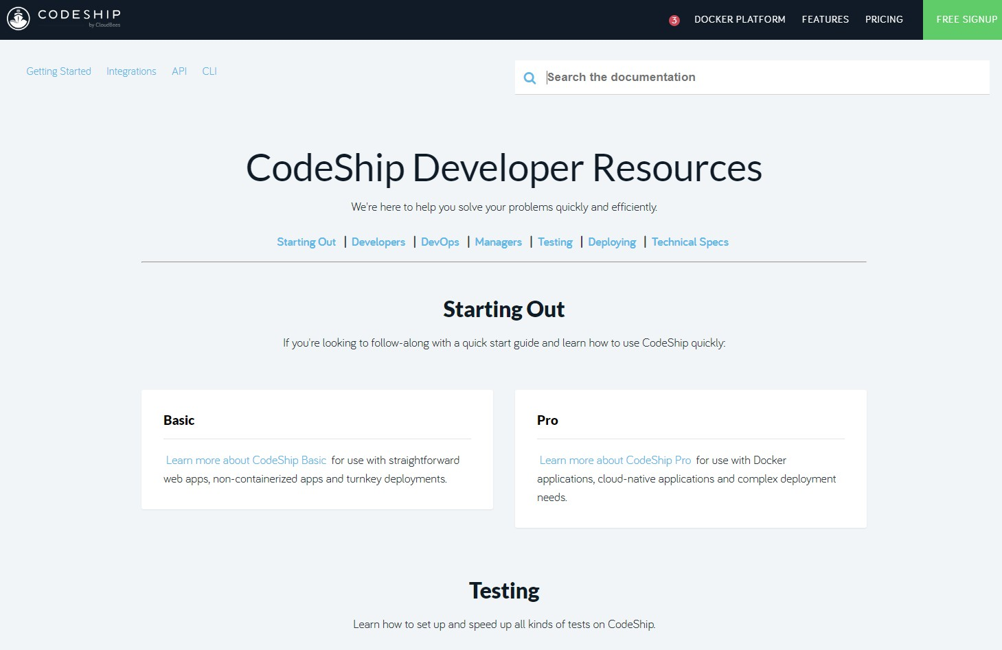 Documentation for Codeship CI & CD service